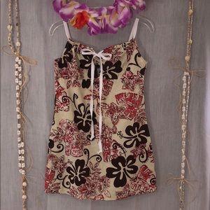 🏆TAPA THREADS Short Aloha Dress Keyhole Tie Front
